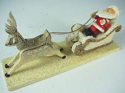 ANTIQUE SANTA IN SLEIGH WITH REINDEER - Never Opened - Great  Box - JAPAN Wood