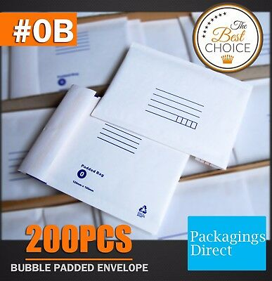 200x Bubble Envelope #0B 120x180mm Padded Bag Mailer SIZE 0B - White Printed