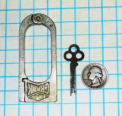 Vtg Antique Old Slaymaker Barry Lock Co CRANK 4 Four Lever Push Key Padlock SBCo