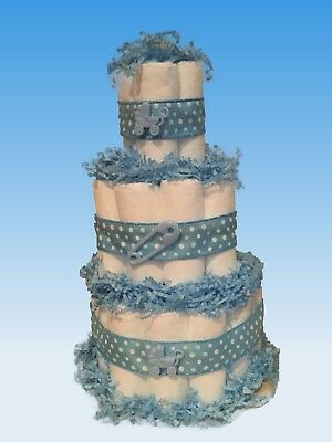 diaper cake pampers baby shower basic boy cake blue
