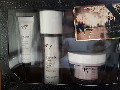 Boots No7 Beautiful skin overnight bright skincare collection, set of 3 pieces