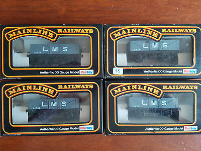 Mainline Lms Open Wagons X 4 Hornby Type Couplers Exc Cond Boxed Oo Gauge (Ch2)