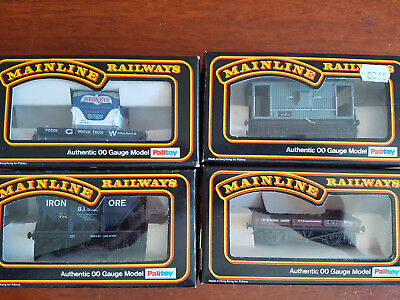 Mainline Goods Wagons X 4 Hornby Type Couplers Exc Cond Boxed Oo Gauge (Ch17)