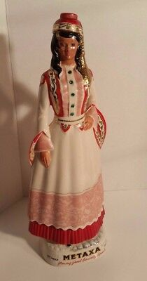 Metaxa Ouzo Greek Lady Vintage Greece Decanter Ceramic Bottle Made Italy