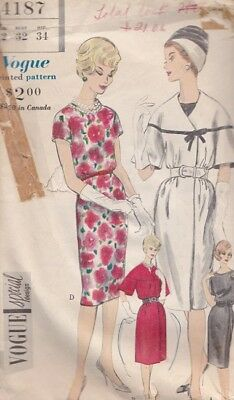 1960's Vintage VOGUE Size 12 Chic EVENING Cocktail and DAY DRESS PATTERN # 4187