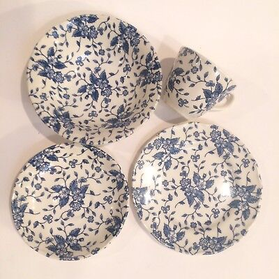 GRINDLEY Royal Tudor Bouquet Blue England Set of 4 Bowl Plate Teacup Saucer Vtg