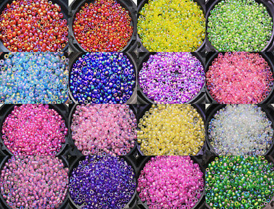 New 1000 Pcs Color AB Round Glass Loose seed Spacer Beads 2mm Multi-color E