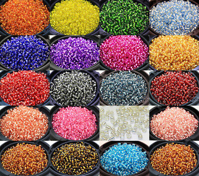 1000Pcs Silver Coloring Round Glass Loose seed Spacer Beads 2mm Multi-color E
