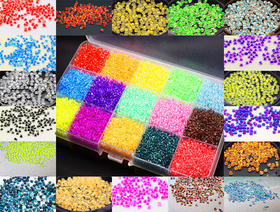 1000Pcs Transparent Coloring Round Glass Loose seed Spacer Beads 2mm Multi-color