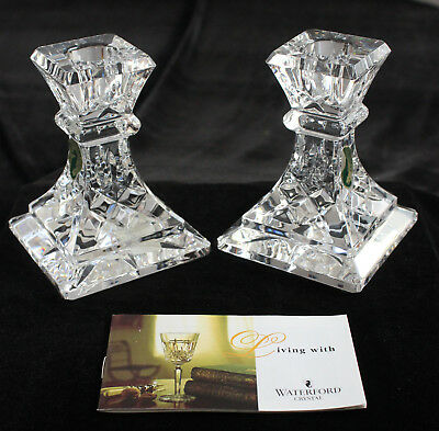 """WATERFORD Lismore Pair of 4"""" Candlesticks New In Box"""