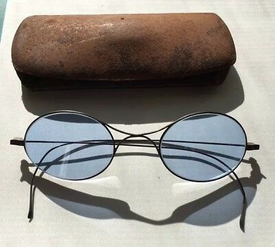 Antique Blue Sunglasses Wire Eyeglasses With Case Spectacles 1800s
