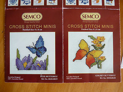 BRILLIANT BUTTERFLIES 2 Semco Mini Cross Stitch Kits to Complete