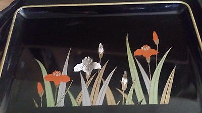 Collectable Otagiri Lacquered Iris Japanese Tray Black