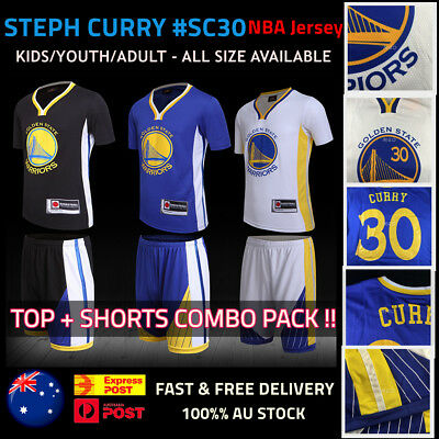 STEPH CURRY Basketball Jersey #30 Golden State Warriors Top+Shorts Kids & Adult