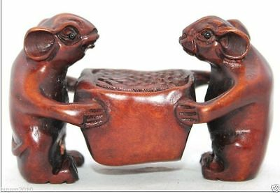 Chinese Handwork Carved Lovely Two Mouse Old Boxwood Netsuke N006