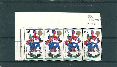 1968 GB Christmas 1s6d value in corner block of 4 (MNH)