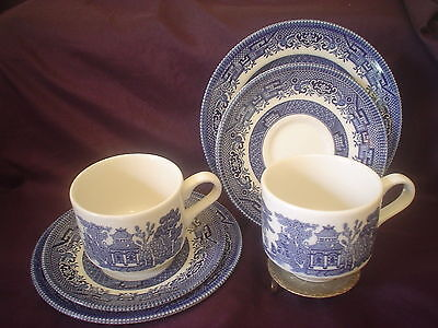 2 Churchill Staffordshire Blue Willow China Trios Blue & White High Tea