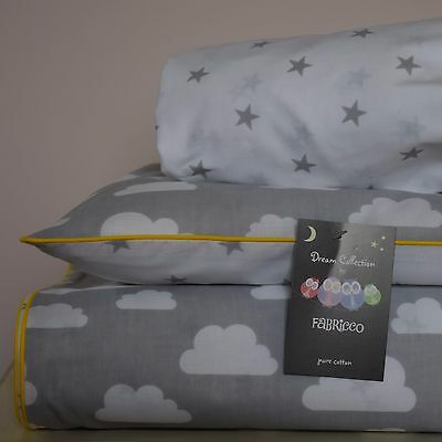 100%COTTON Cot Bed Duvet Cover Set Grey Clouds Stars fitted sheet yellow piping