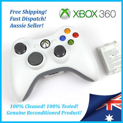 XBOX 360 Wireless Controller - Grey White 100% Tested Cleaned, GENUINE Microsoft
