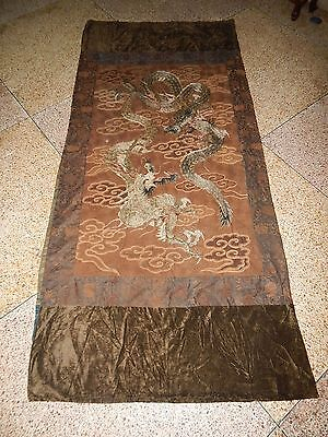 Large Antique Chinese/Japanese Hand Embroidered Dragon Wall Hanging Textile Art