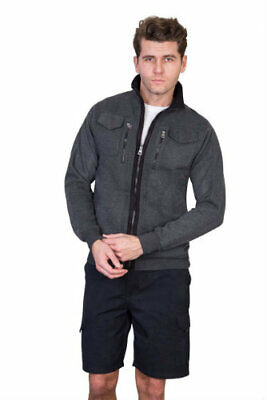 Mens Full Zip Top in Gunmetal, Navy