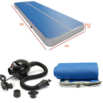 3x2M Inflatable Gym Mat Air Tumbling Track Gymnastics Cheerleading Pad w/ Pump