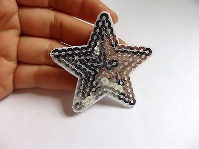 3 silver star patches sequin sequined applique patch motif iron on sew on UK