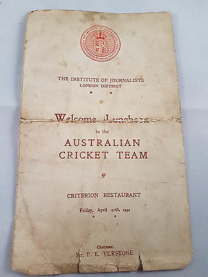 1934 Australian Ashes Tour Signatures from Lunch at Criterion Restuarant
