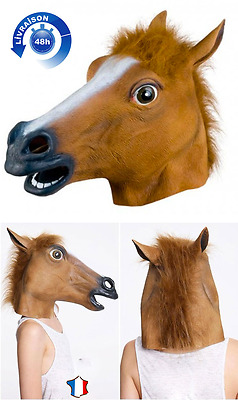 * Masque Cheval Integral Latex Tete Top Qualité Cosplay Fete Halloween Carnaval