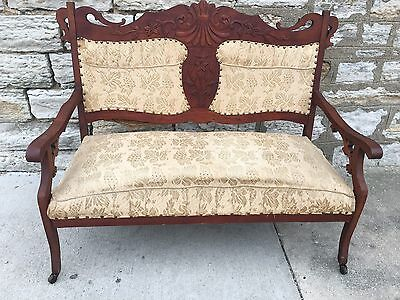 Eastlake Victorian Antique Settee Love Seat Carved Walnut Wood Parlor Bench Nice