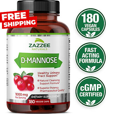 D-Mannose Capsules 180 Veggie Caps 1000mg 100% Pure UTI Relief Urinary Tract USA