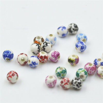 5/20pcs 6mm Blue And White Porcelain Ceramic Round Loose Beads Jewelry Making