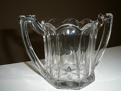 Antique c. 1920's Heavy Clear Glass Scalloped Edged Sugar Bowl