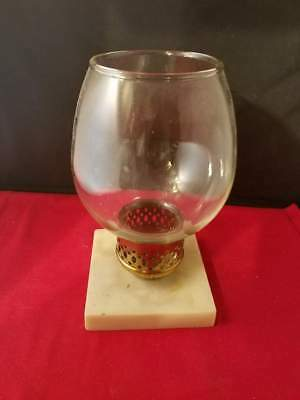 Antique Vintage Hurricane Clear glass Candle Holder with Brass and stone base