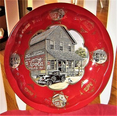 """©1997 Coca-Cola General Merchandise Country Store 10-1/4"""" Round Red Metal Bowl"""
