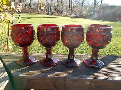 Avon 1876 Cape Cod Collection Rudy Red Wine Goblets Set of 4