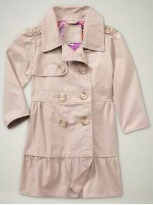 NWT Baby Gap Fifth Avenue Ruffle Trench Coat Jacket Fawn Beige NEW Girl 3T 4T 5T