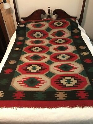 Vtg Native American? Rug Wall Hanging Red Green Black Beautiful Colors Navajo