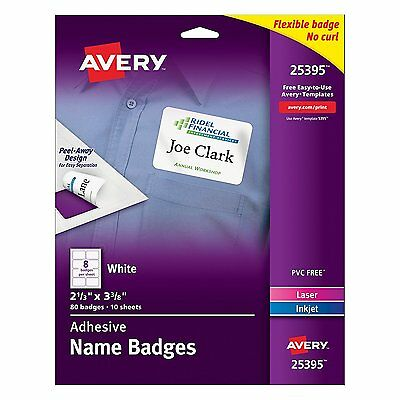 "NEW Avery White Adhesive Name Badges, 2-1/3"" x 3-3/8"", Pack of 80 (25395)"