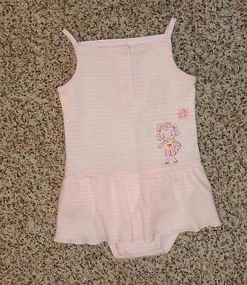 Carter's Baby Girls Pink White Striped Summer Romper Sleeveless Size 9 Months