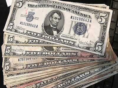 Lot of x4 - $5 Blue Seal SILVER CERTIFICATES - Circulated - (1934 - 1953) BEST $