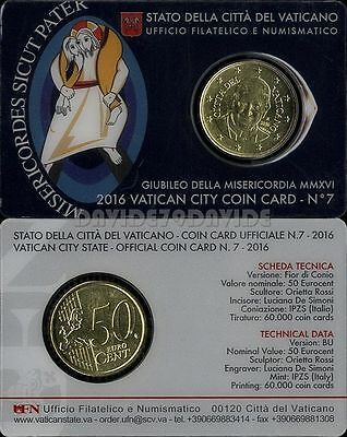 2016 VATICAN COIN CARD 50 cent # 7 POPE FRANCIS UNC HOLY YEAR OF MERCY JUBILEE
