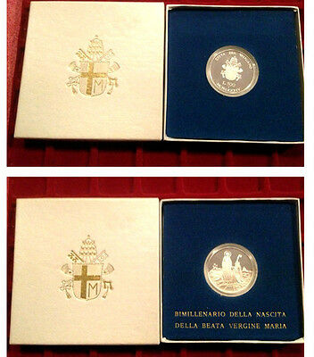 1984 VATICAN 2000 th BIRTH OF VIRGIN MARIA PROOF 500 lire SILVER COIN boxed