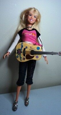 MYLIE CYRUS Doll & GUITAR HANNAH MONTANA teen Celebrity Pop Star earrings 1:6