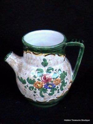 Italian Tuscan Hand Painted Art Pottery Pitcher Short Spout Cream/Green Floral