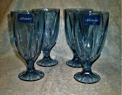 Brilliant set of 4 NORITAKE Blue Breeze 21 oz Iced tea stem glassware NWL