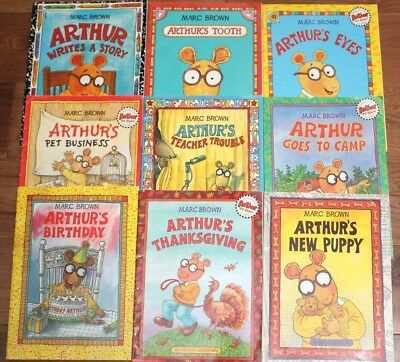 Lot of 9 ARTHUR BOOKS by Marc Brown Glasses Tooth Camp Puppy Story Paperback Lot