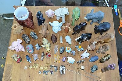 Gorgeous Vintage 58 Piece Elephant Figure Lot Onyx Brass Glass Wood Jewelry Look