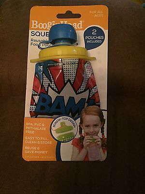 Booginhead Squeez'Ems BAM! Comic Reusable Food Pouches Airtight Container 2 Pack