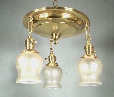 Antique Victorian Art Nouveau 3 Light Brass Chandelier With Etched Glass Shades